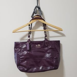 Authentic Patent Coach Shoulder Tote